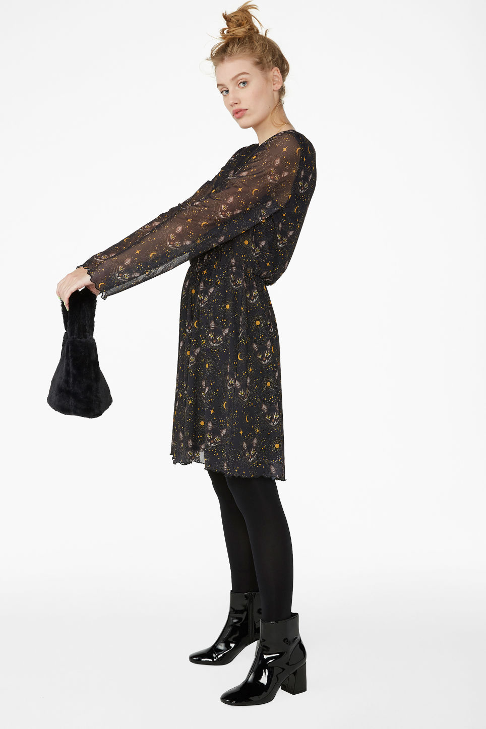 Model front image of Monki soft v-neck dress in black