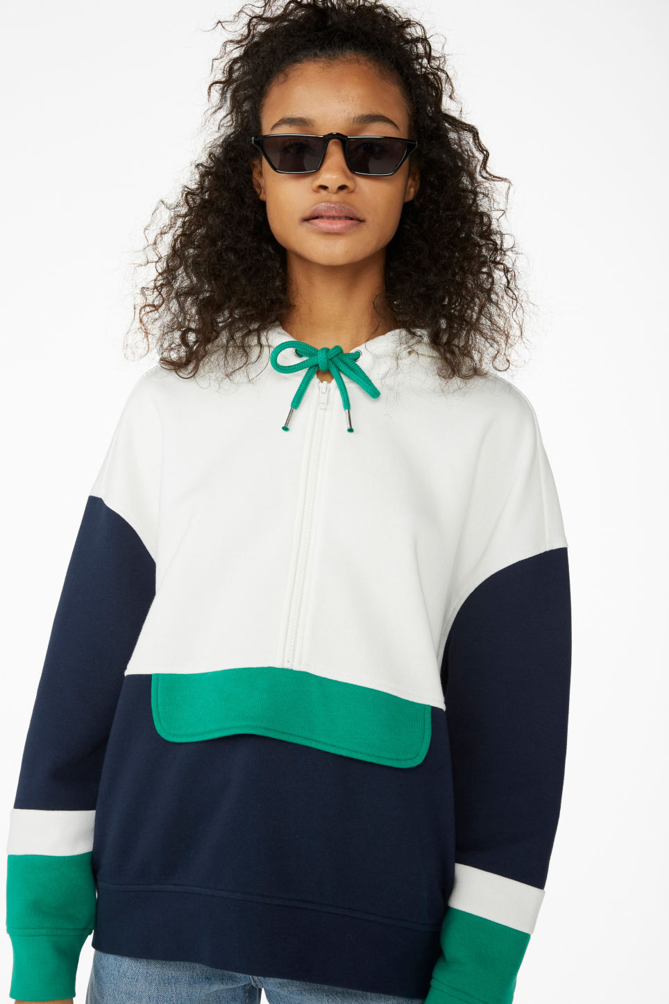 Model front image of Monki colour block hoodie in white