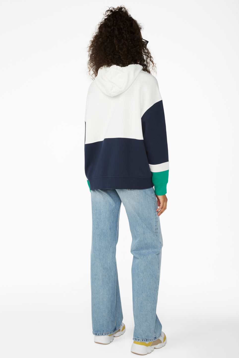 Model back image of Monki colour block hoodie in white