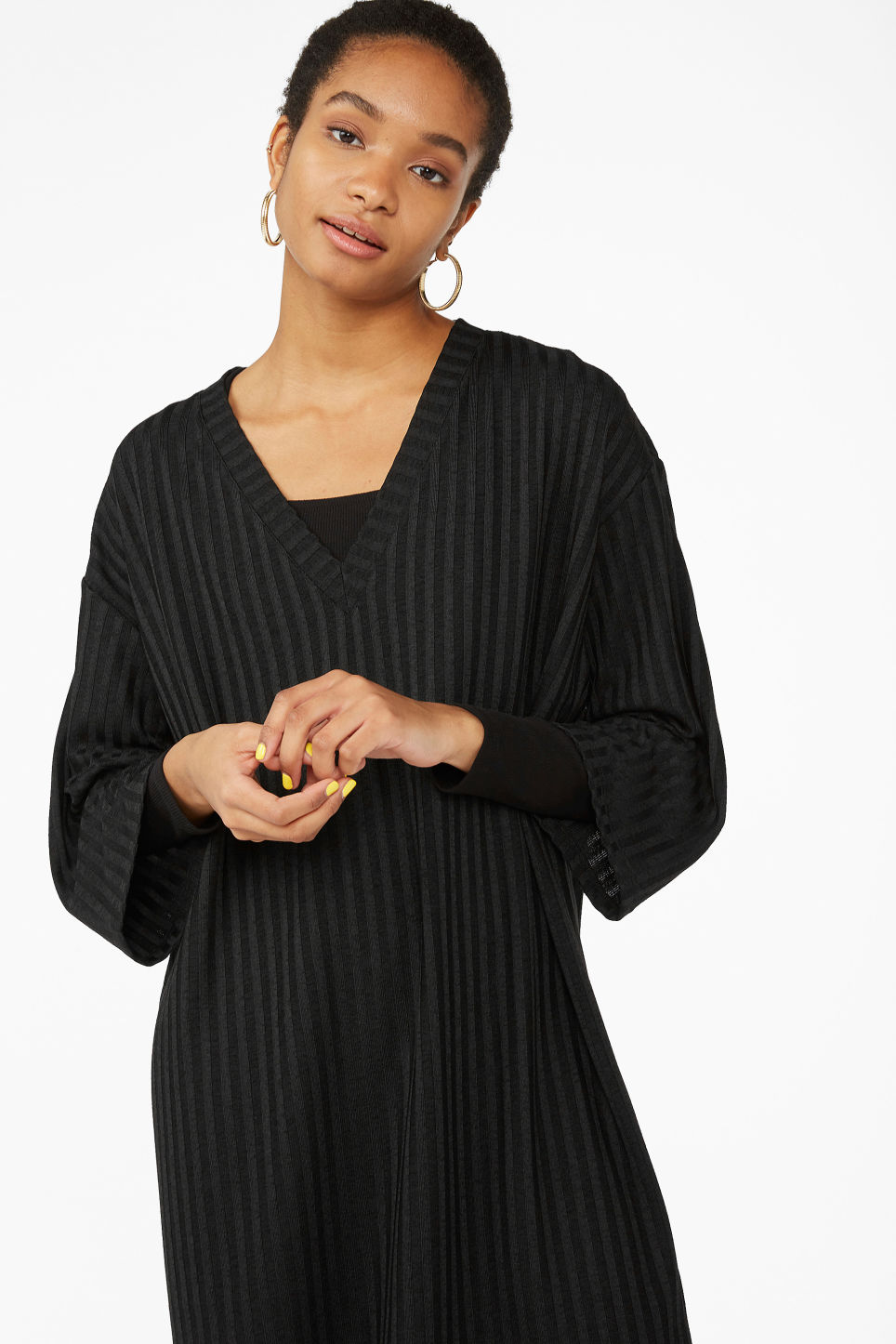 Model front image of Monki ribbed v-neck top in black