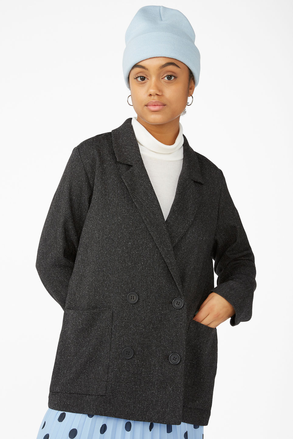 Model front image of Monki double breasted blazer in grey