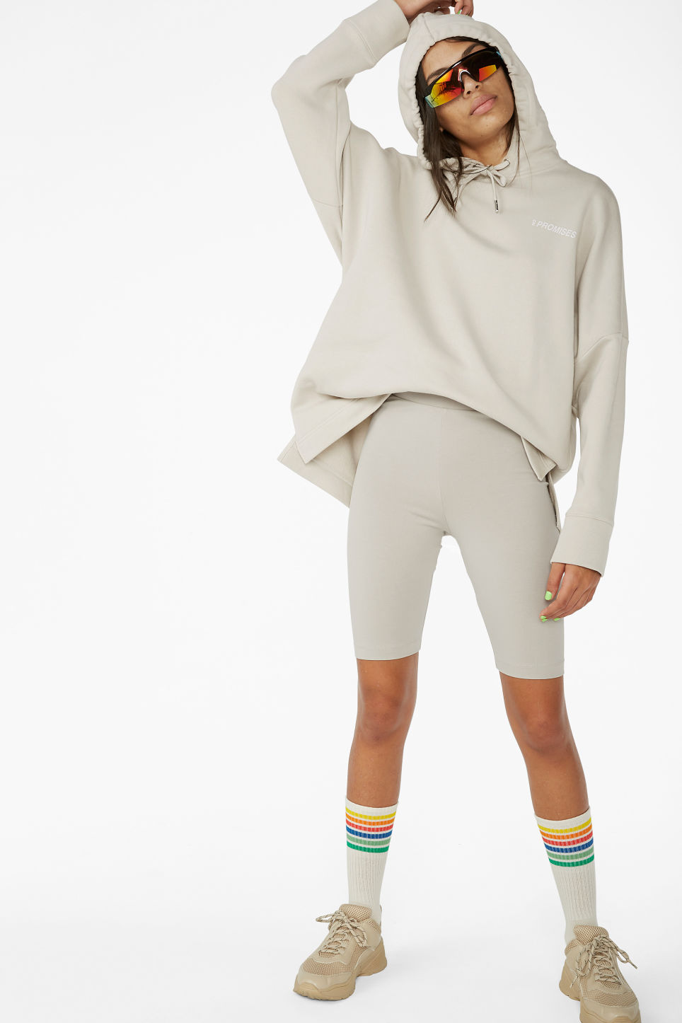 Model front image of Monki short leggings in brown