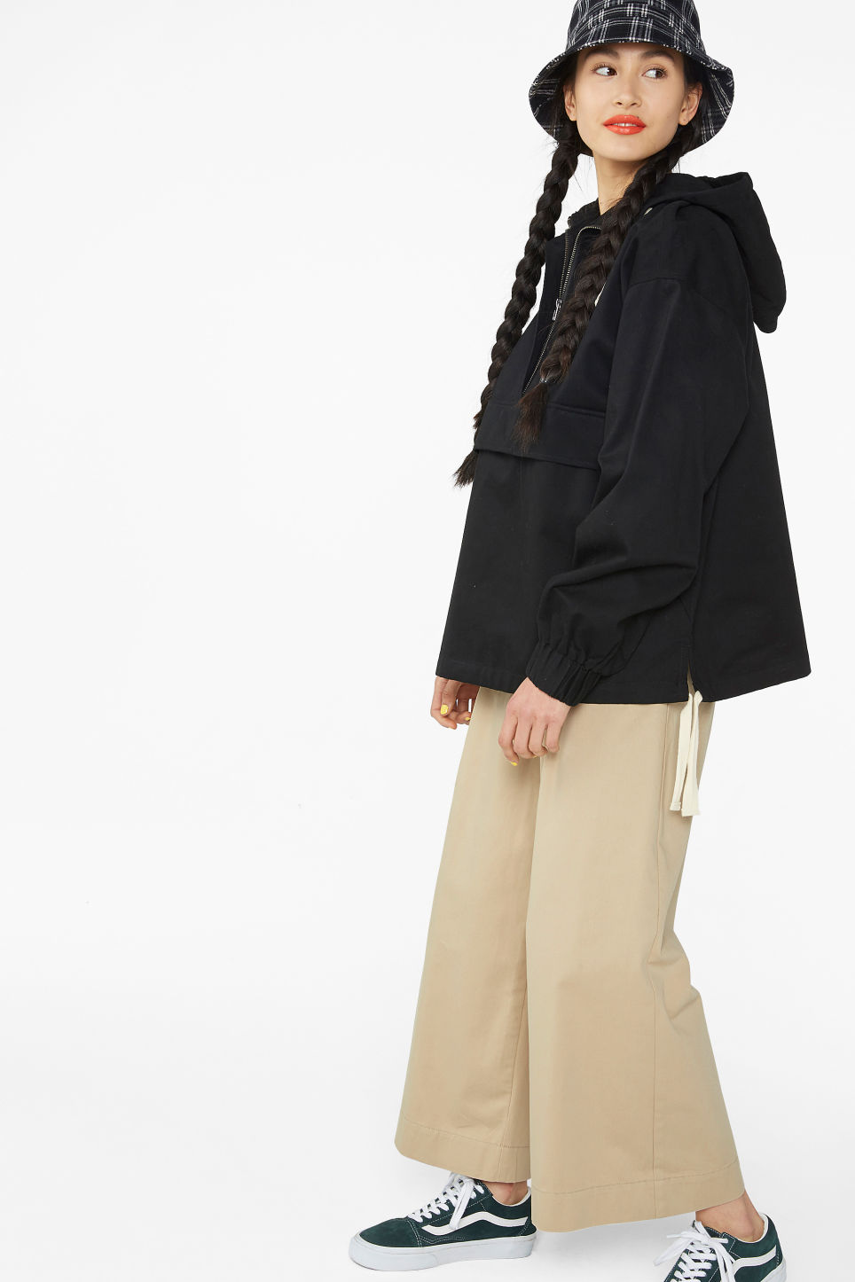 Model front image of Monki cotton anorak in black