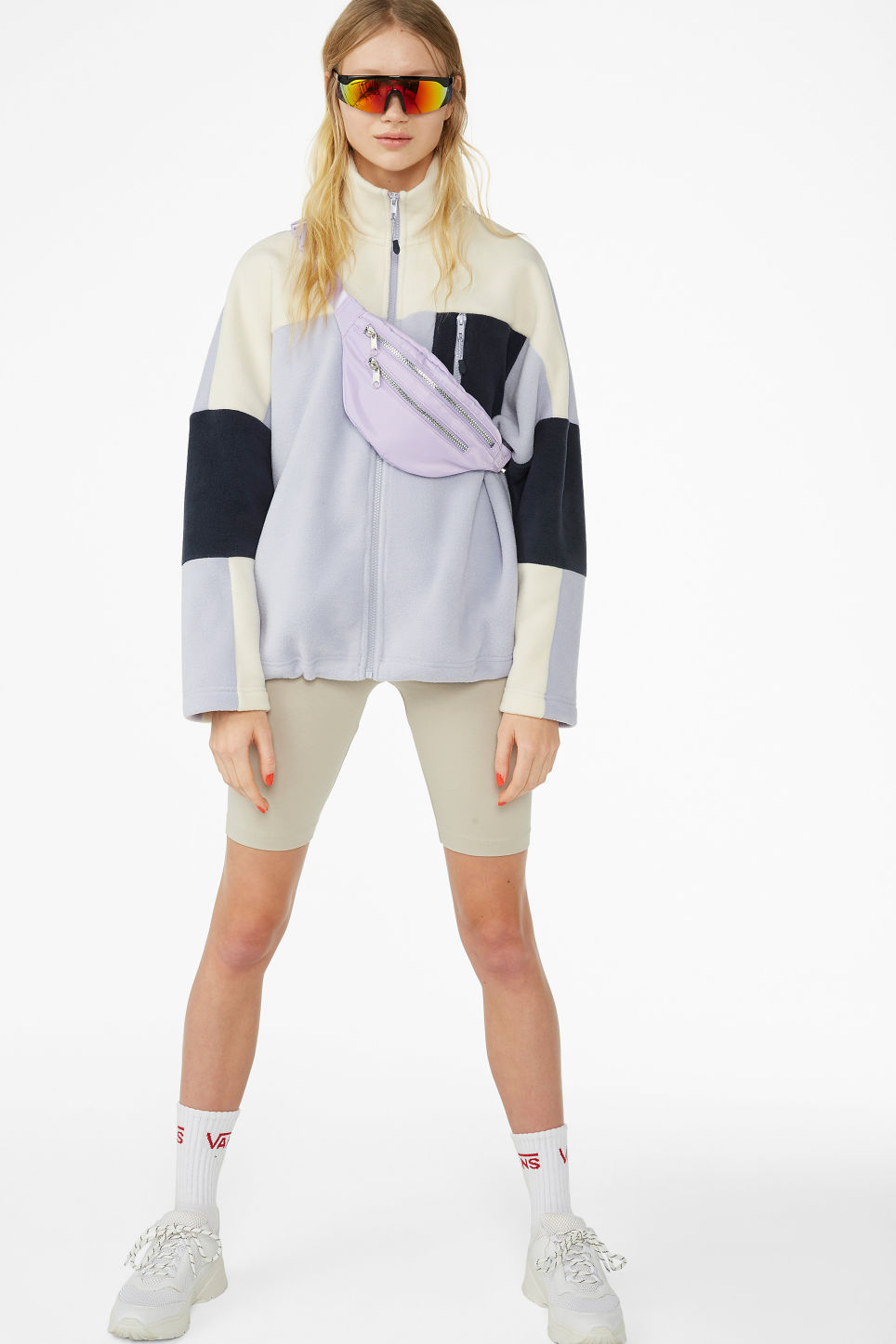 Model front image of Monki front zip fleece jacket in purple