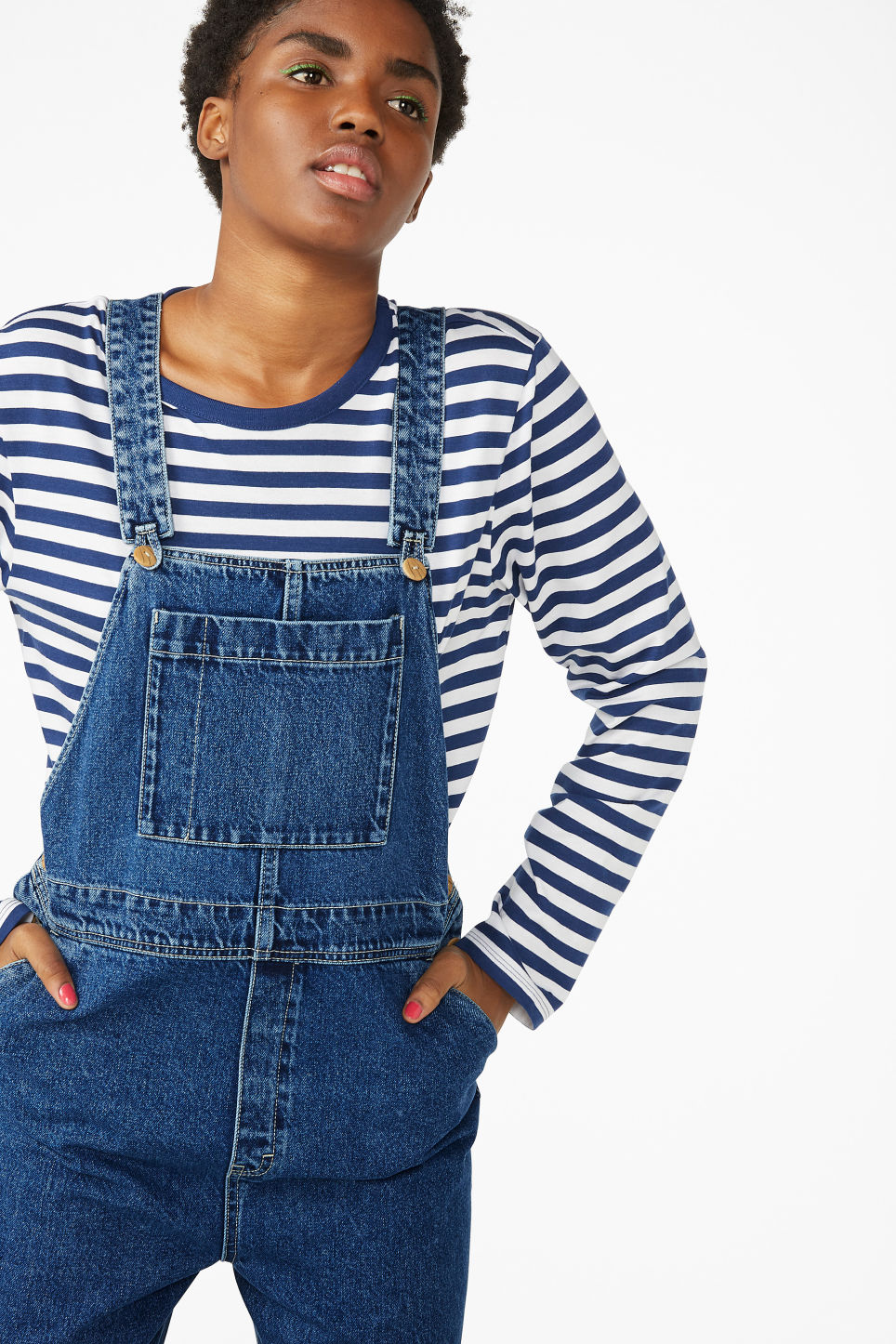 Model front image of Monki classic denim dungarees in blue
