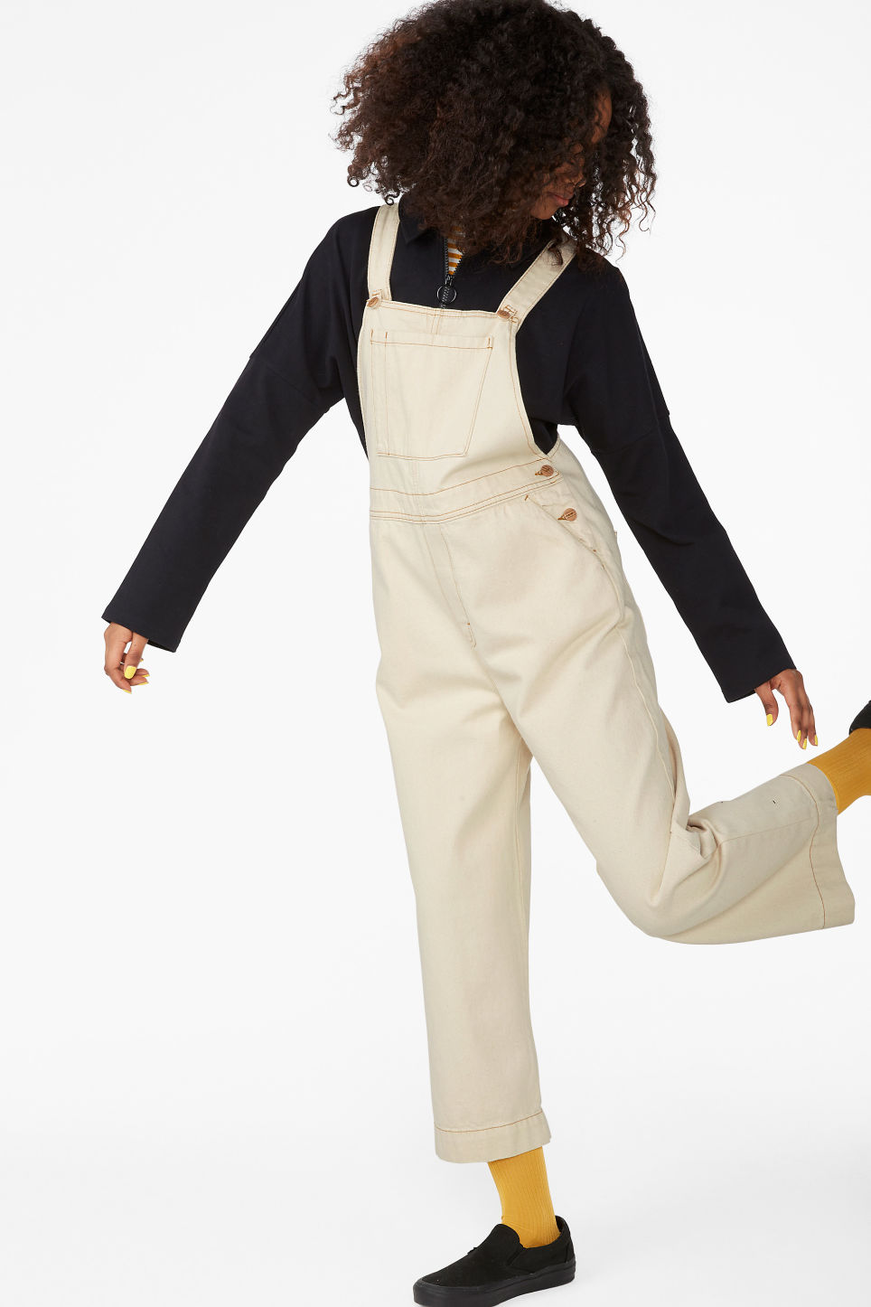 Model front image of Monki classic denim dungarees in white