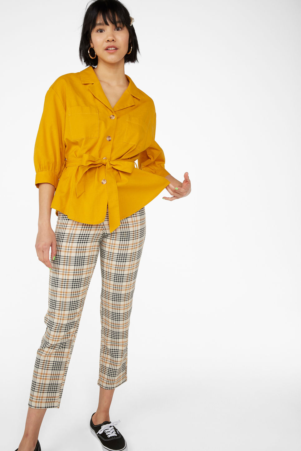 Model front image of Monki tie waist top in yellow
