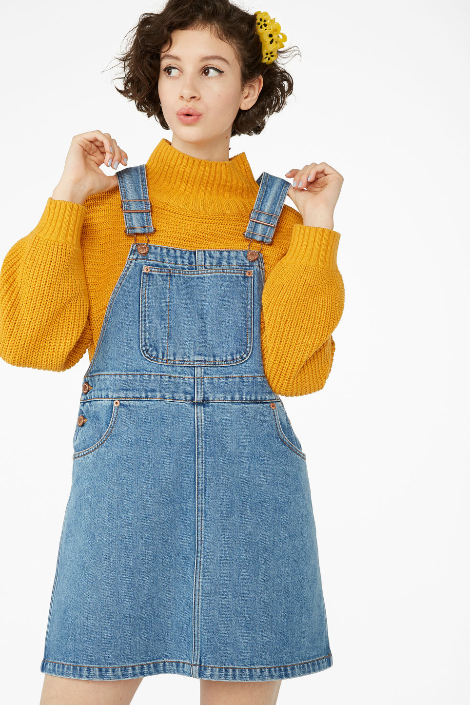 Model front image of Monki denim dungaree dress in blue