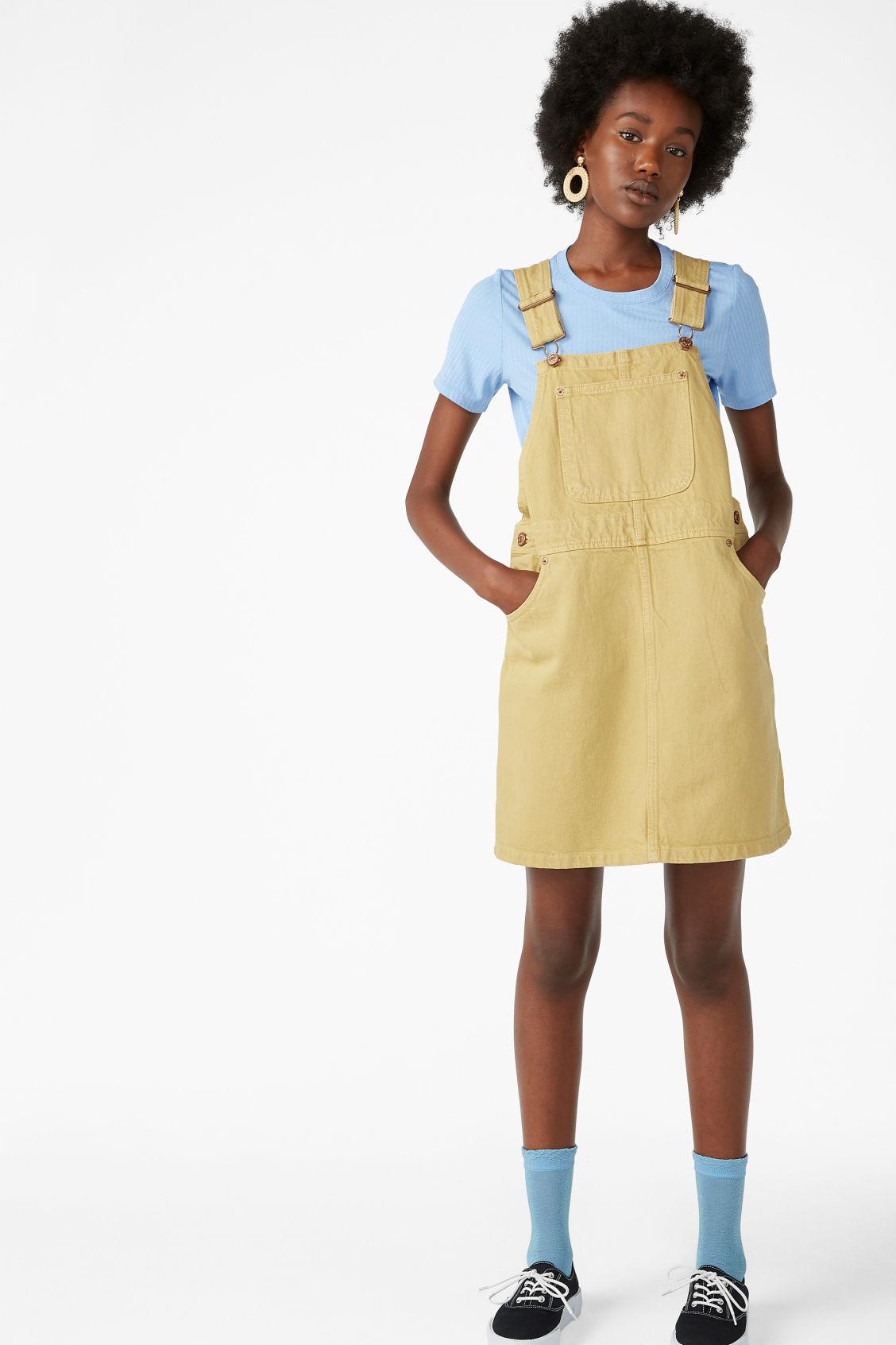 good reputation hot-selling real numerousinvariety Denim dungaree dress - Dusty yellow - Dresses - Monki