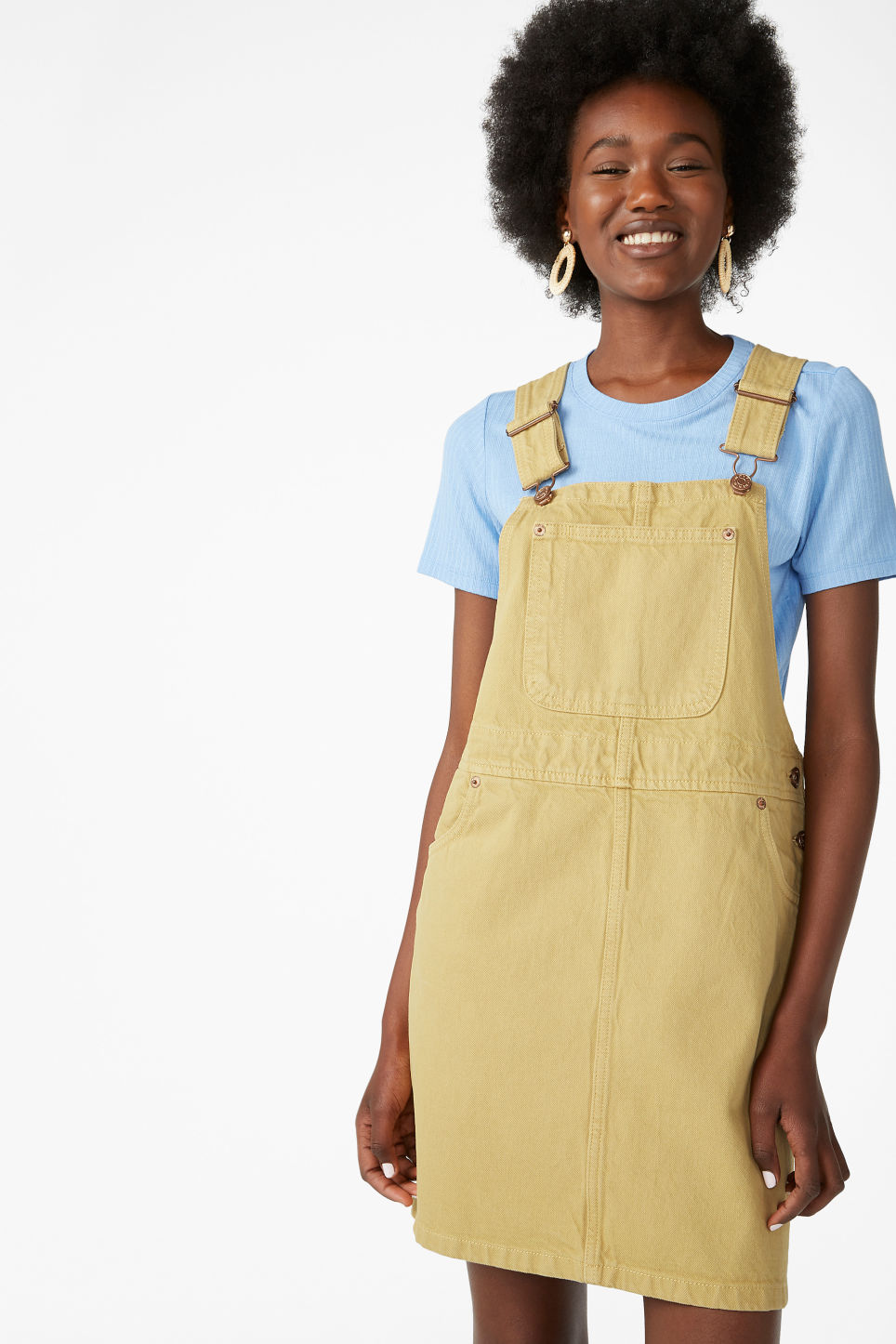Model front image of Monki denim dungaree dress in yellow