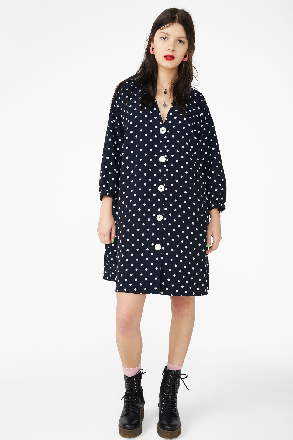 Model front image of Monki buttoned v-neck dress in blue