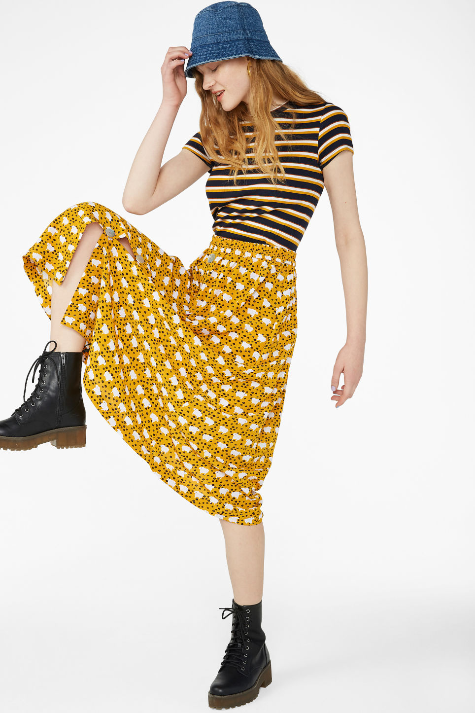 Model front image of Monki pearl effect button skirt in yellow