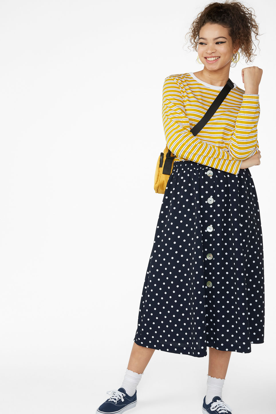 Model front image of Monki pearl effect button skirt in blue