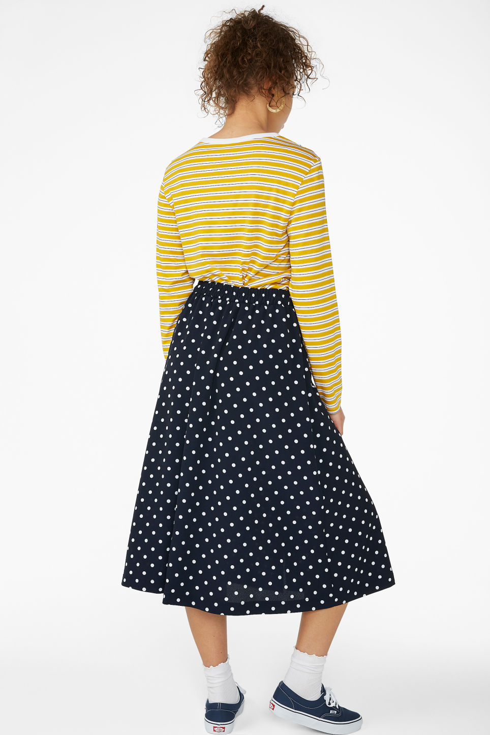 Model back image of Monki pearl effect button skirt in blue