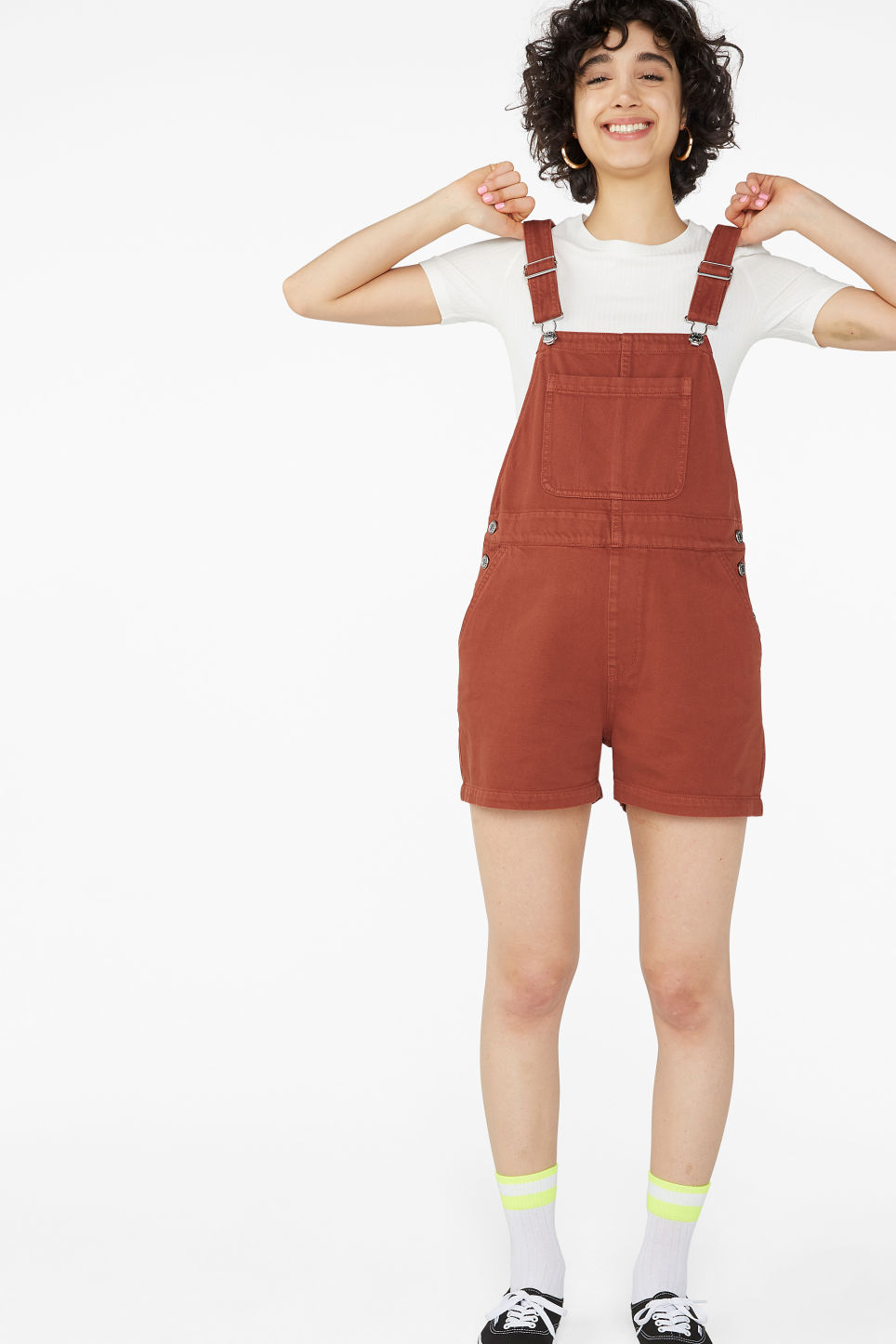 Model front image of Monki denim dungaree shorts in orange