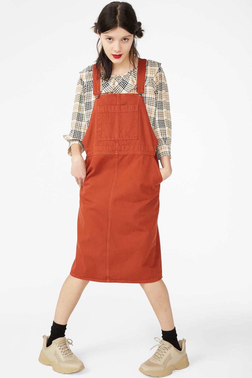 Model front image of Monki denim dungaree dress in orange