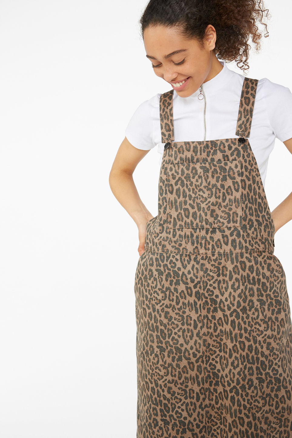 Model front image of Monki denim dungaree dress in beige