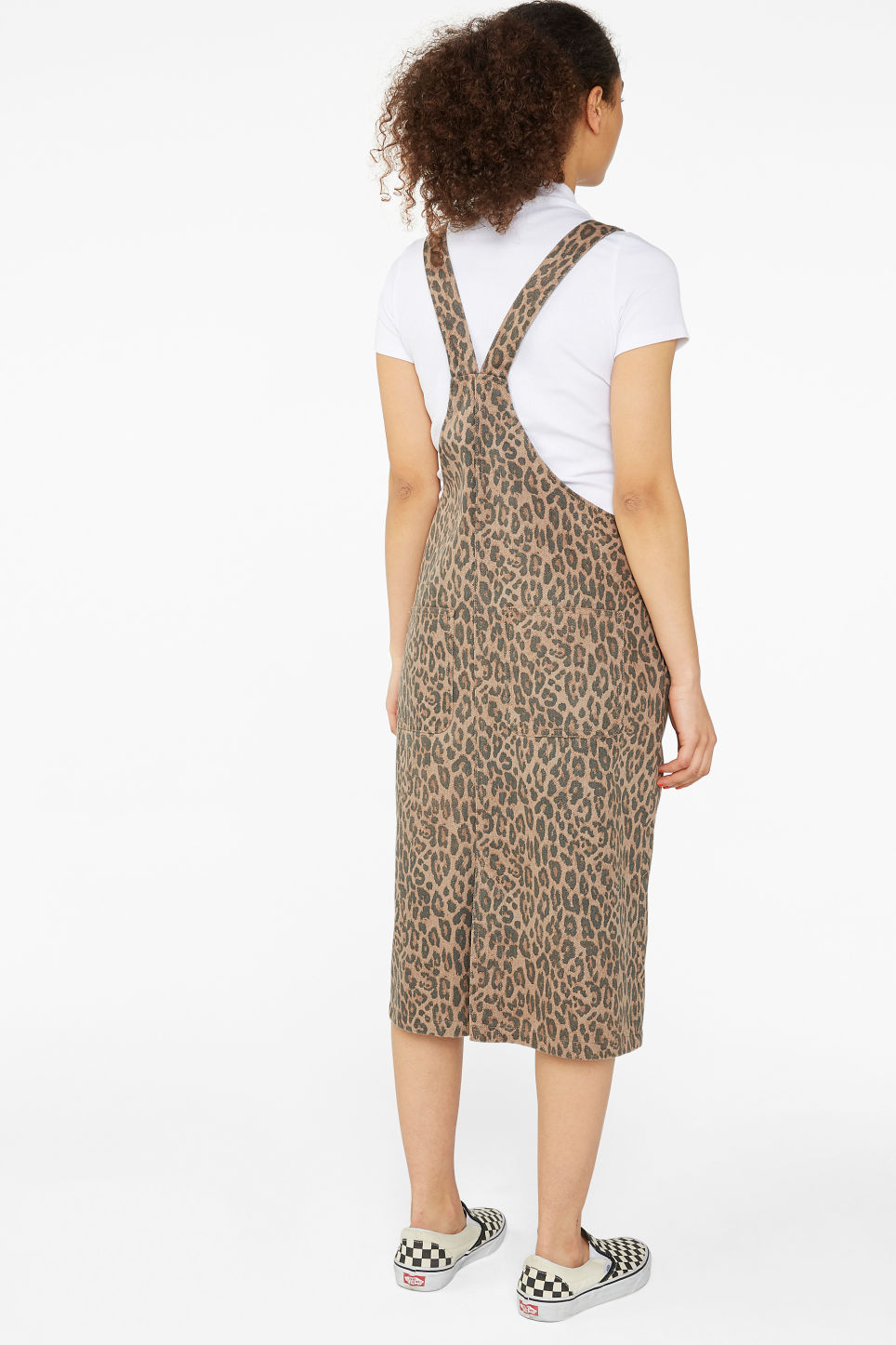Model back image of Monki denim dungaree dress in beige