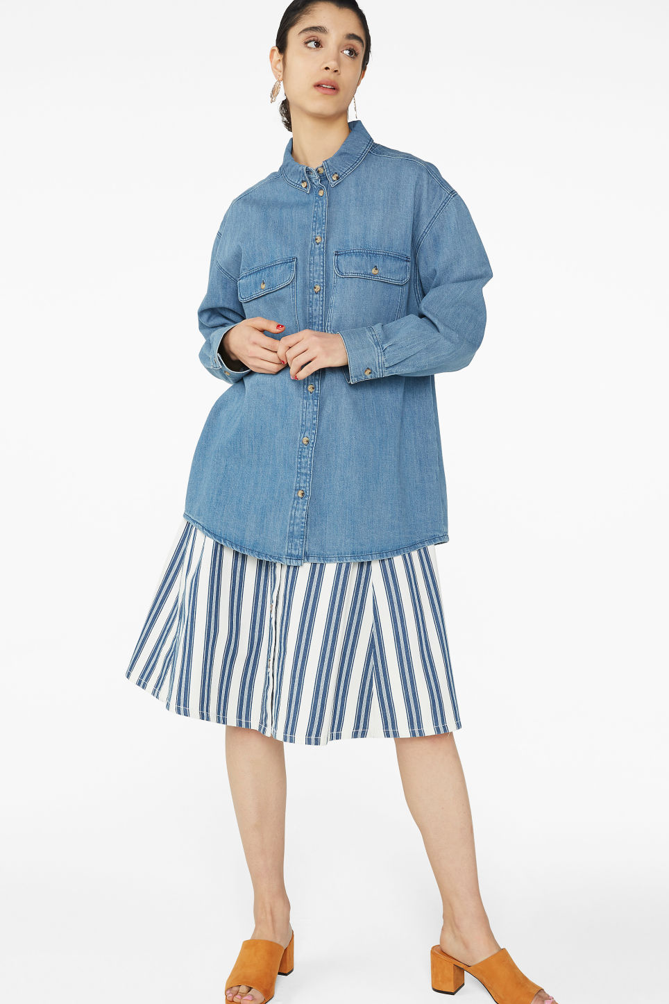 Model front image of Monki denim shirt in blue