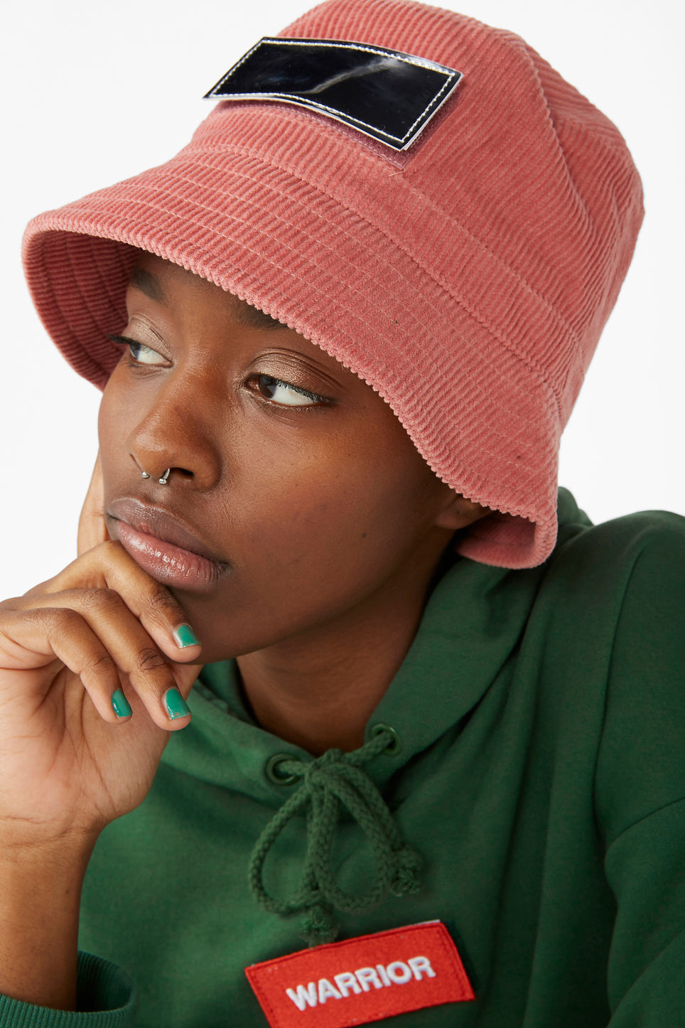 Model front image of Monki corduroy hat in pink