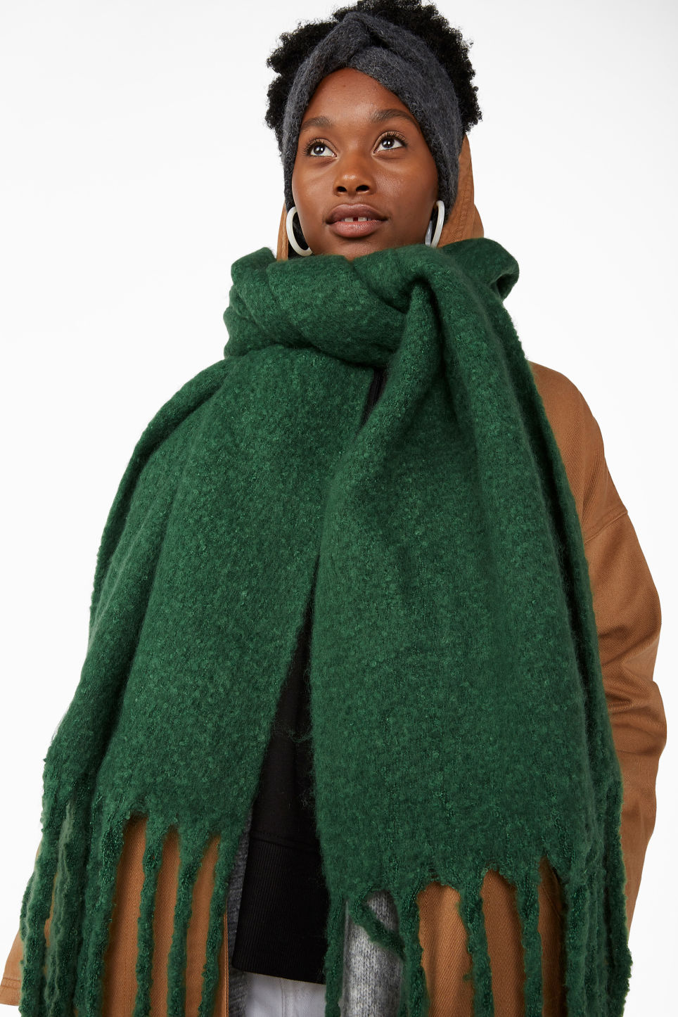Model front image of Monki all the feels scarf in green