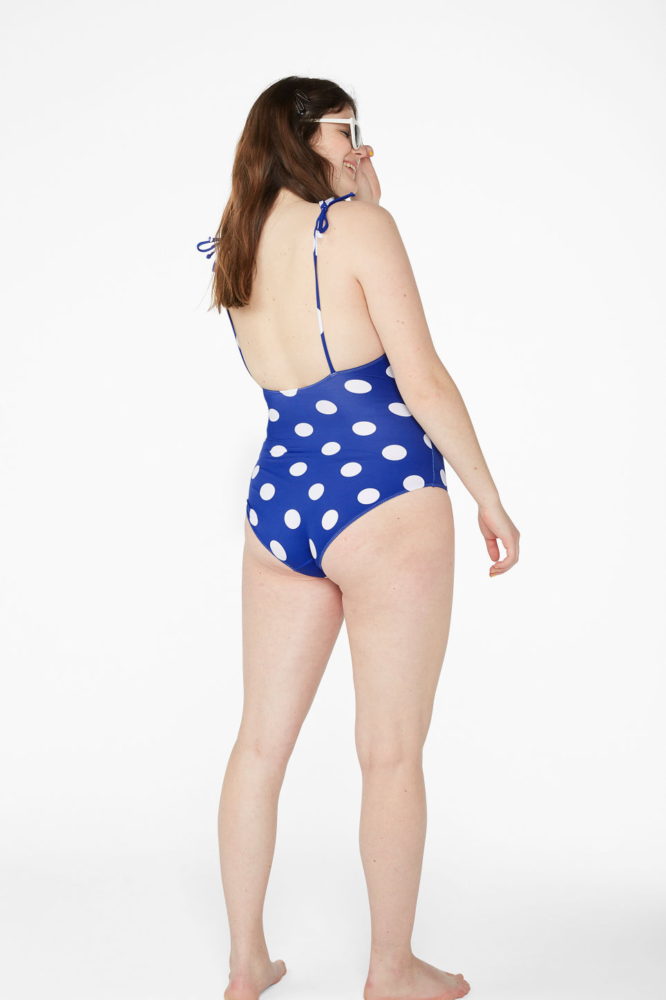 Model back image of Monki tie shoulder swimsuit in blue