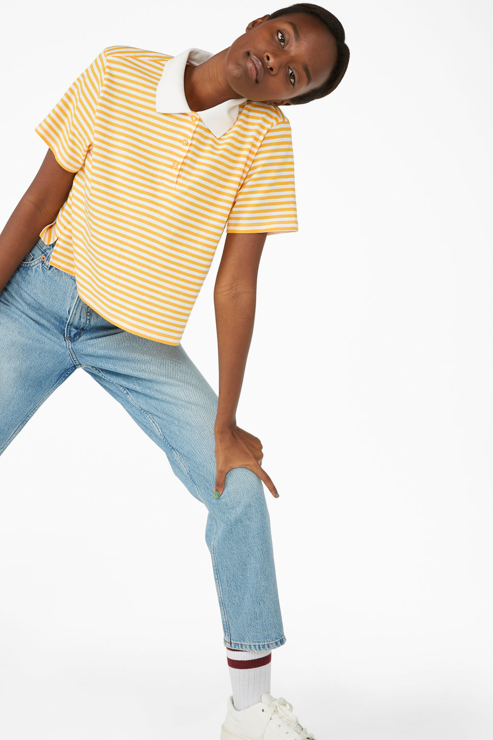Model front image of Monki cropped pique polo shirt in yellow