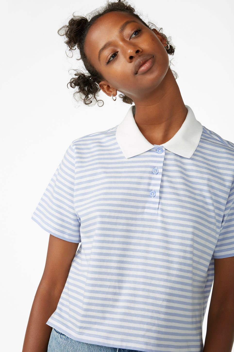 Model front image of Monki cropped pique polo shirt in blue