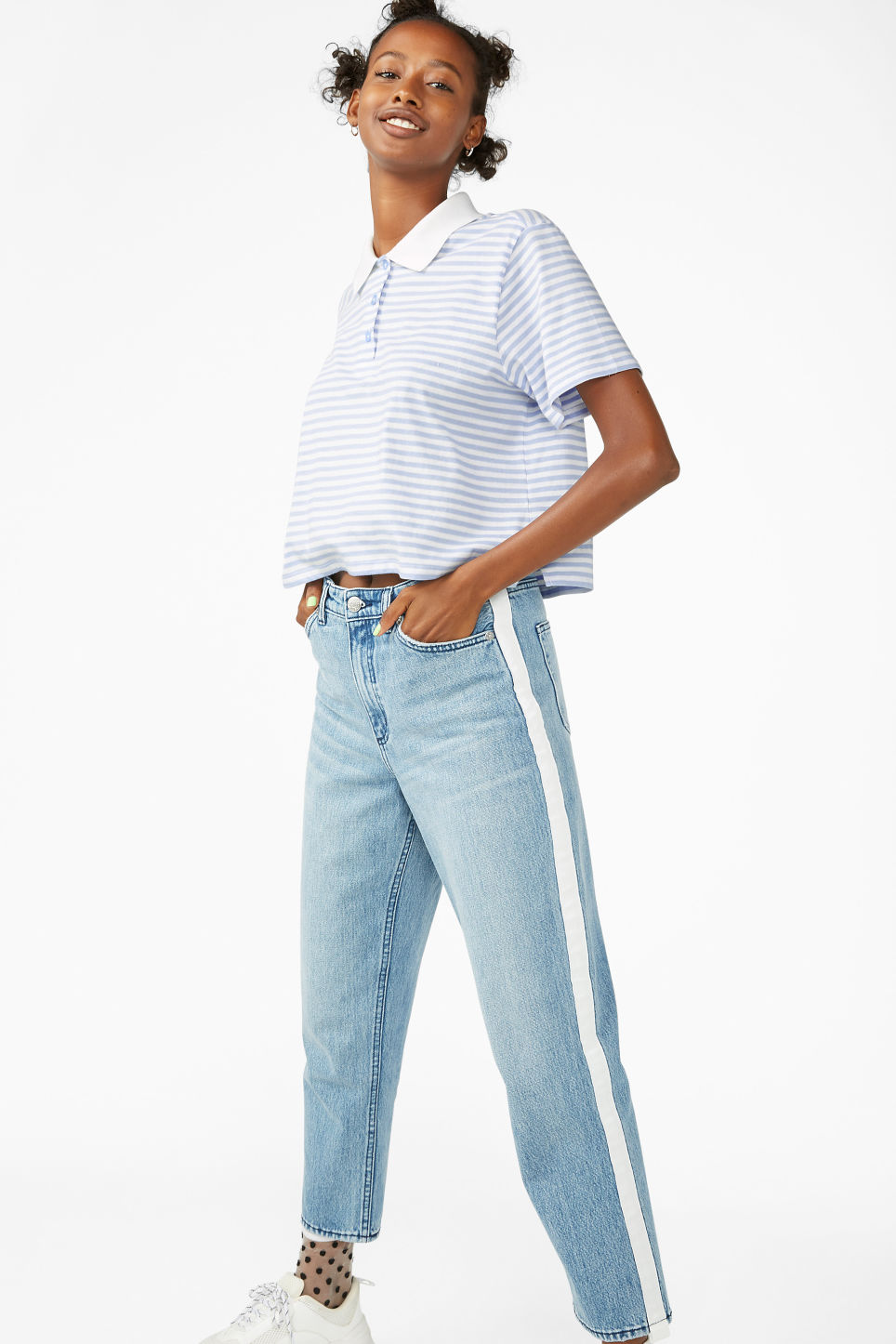Model side image of Monki cropped pique polo shirt in blue