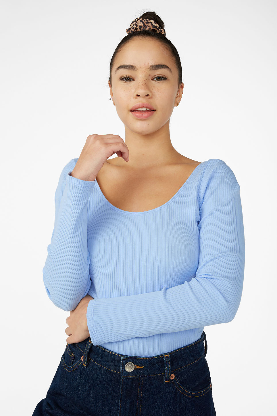 Model front image of Monki ribbed long-sleeved body in blue