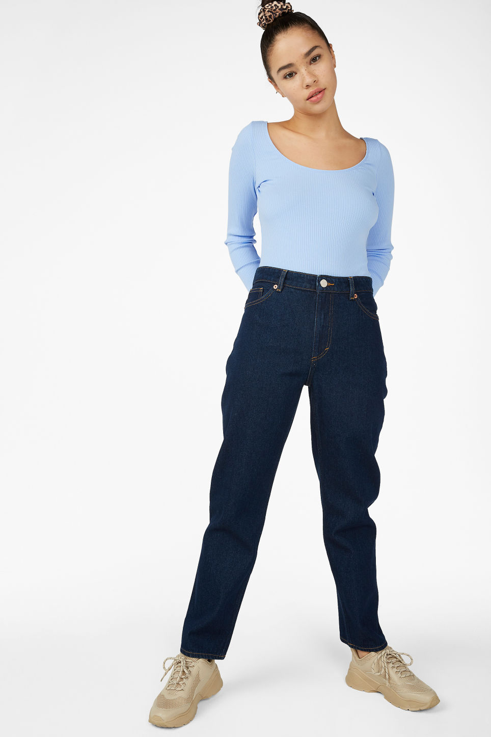 Model side image of Monki ribbed long-sleeved body in blue