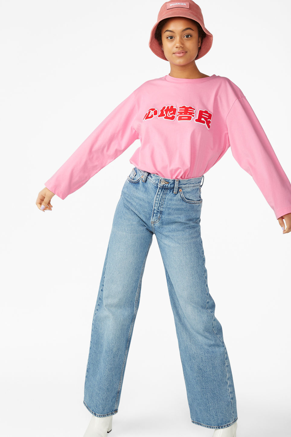 Model side image of Monki long-sleeved top in pink