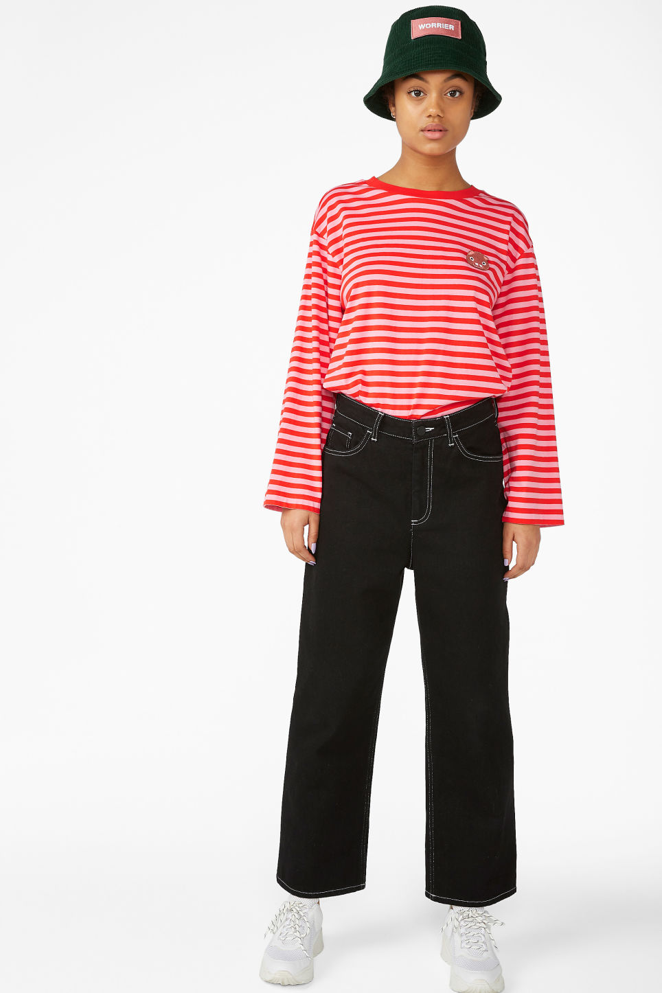 Model front image of Monki long-sleeved top in pink