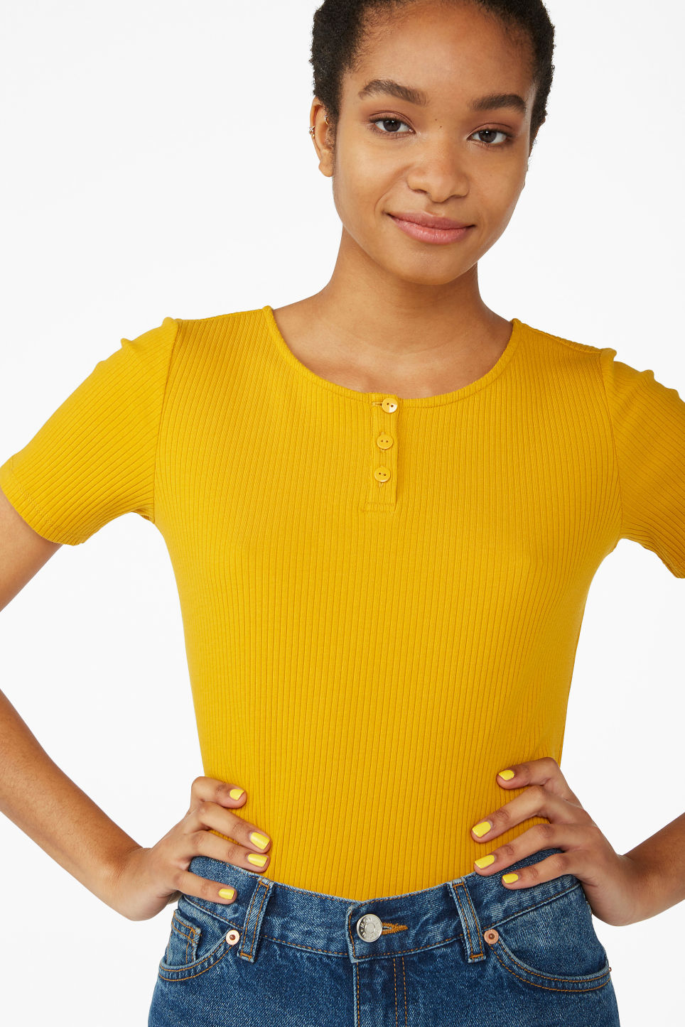 Model front image of Monki short-sleeved ribbed top in yellow