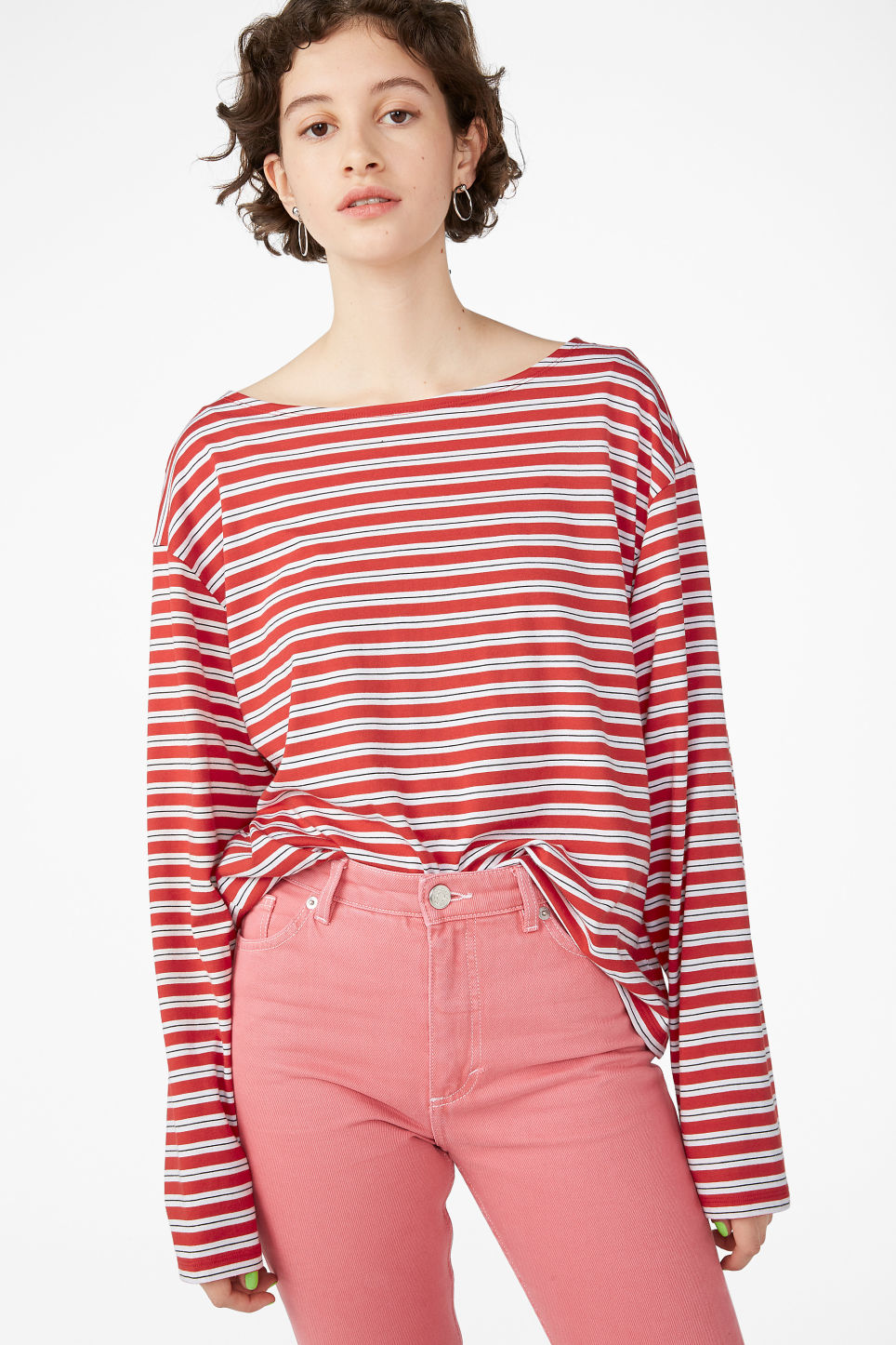Model front image of Monki boat neck top in red