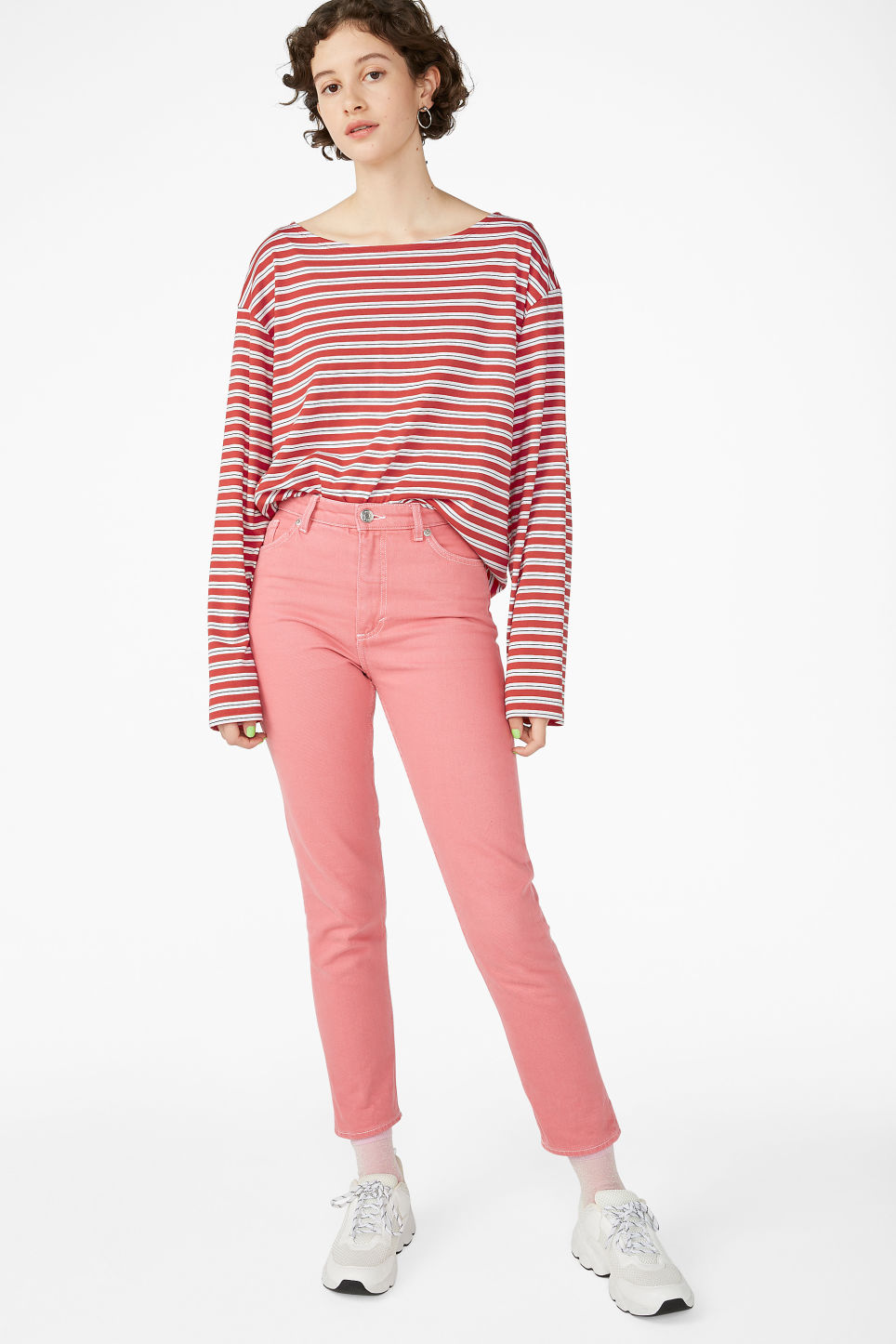 Model side image of Monki boat neck top in red