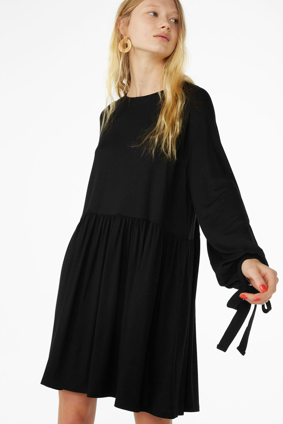 Model front image of Monki flowy tie cuff dress in black