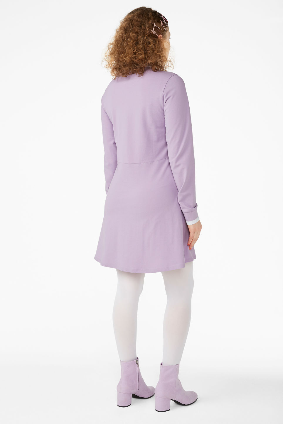 Model back image of Monki piqué tennis dress in purple
