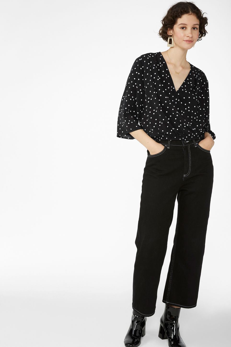 Model front image of Monki wrap blouse in black