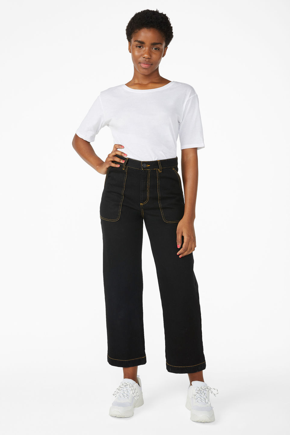Model front image of Monki rio jeans in black
