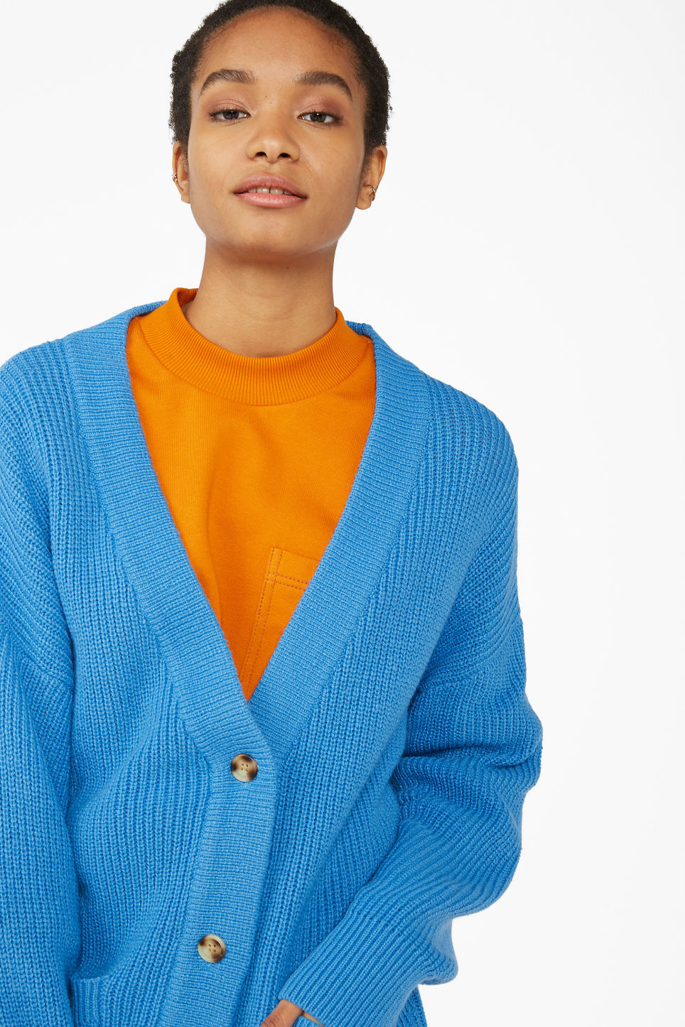 Model front image of Monki long knitted cardigan in blue