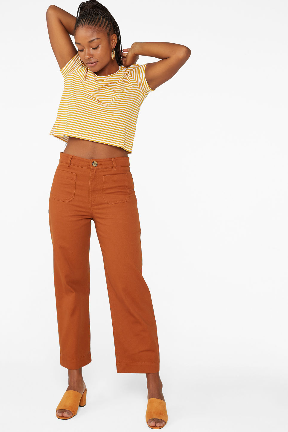 Model front image of Monki wide trousers in orange