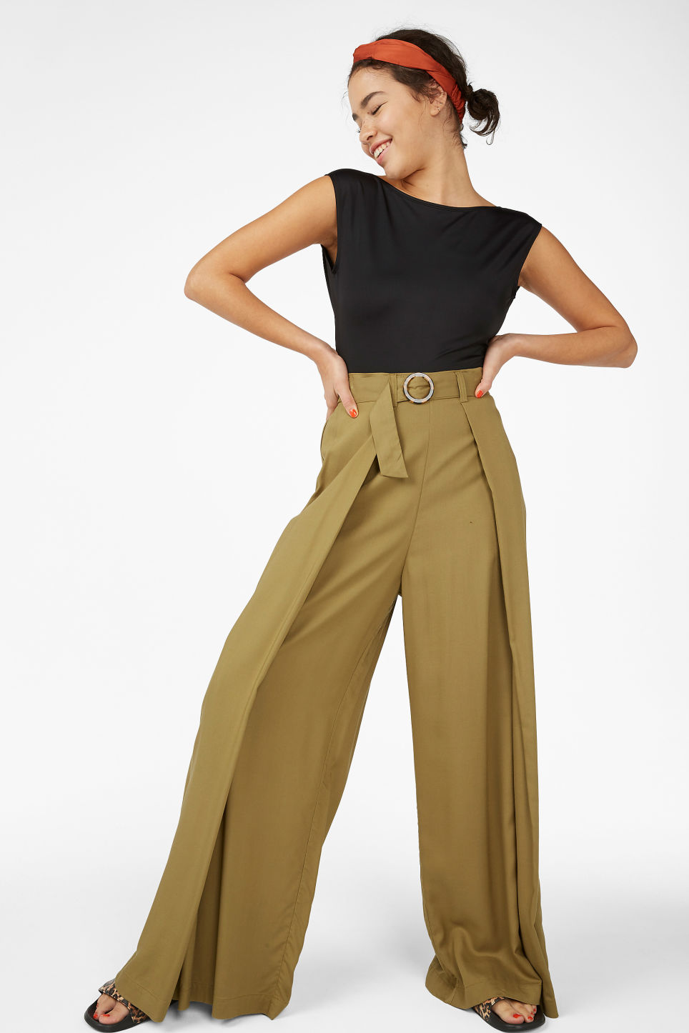 Model front image of Monki wrap style trousers in beige