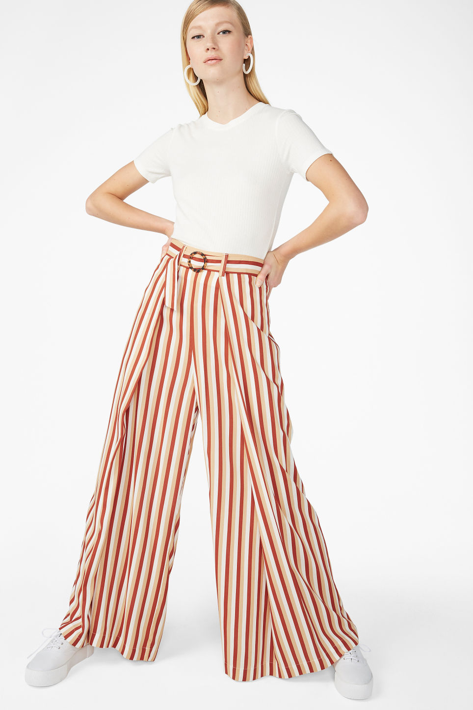 Model front image of Monki wrap style trousers in orange