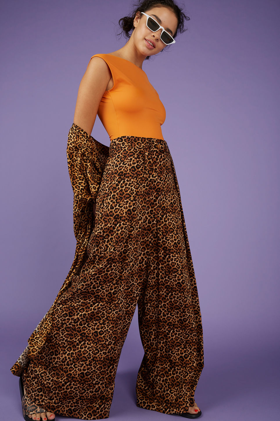 Model front image of Monki wrap style trousers in yellow