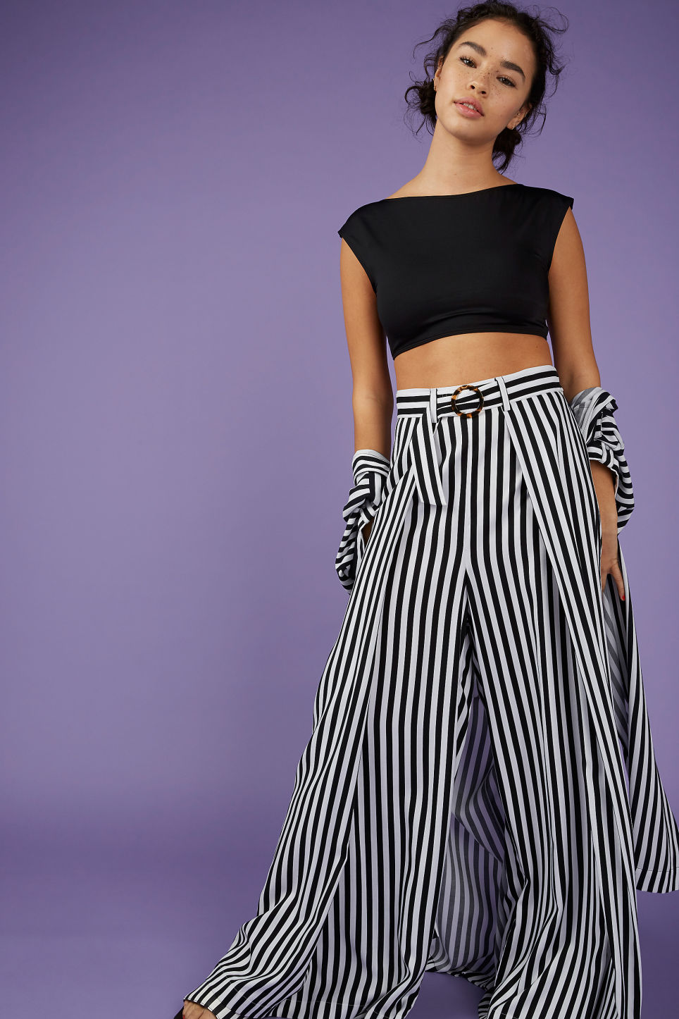 Model front image of Monki wrap style trousers in black