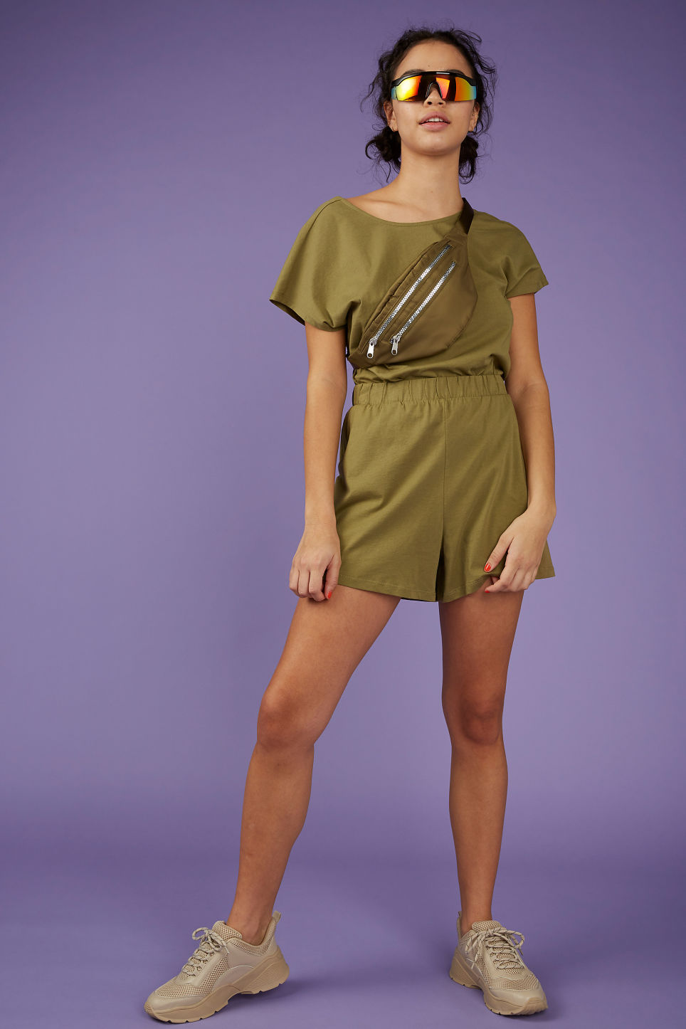 Model front image of Monki comfy jersey shorts in beige