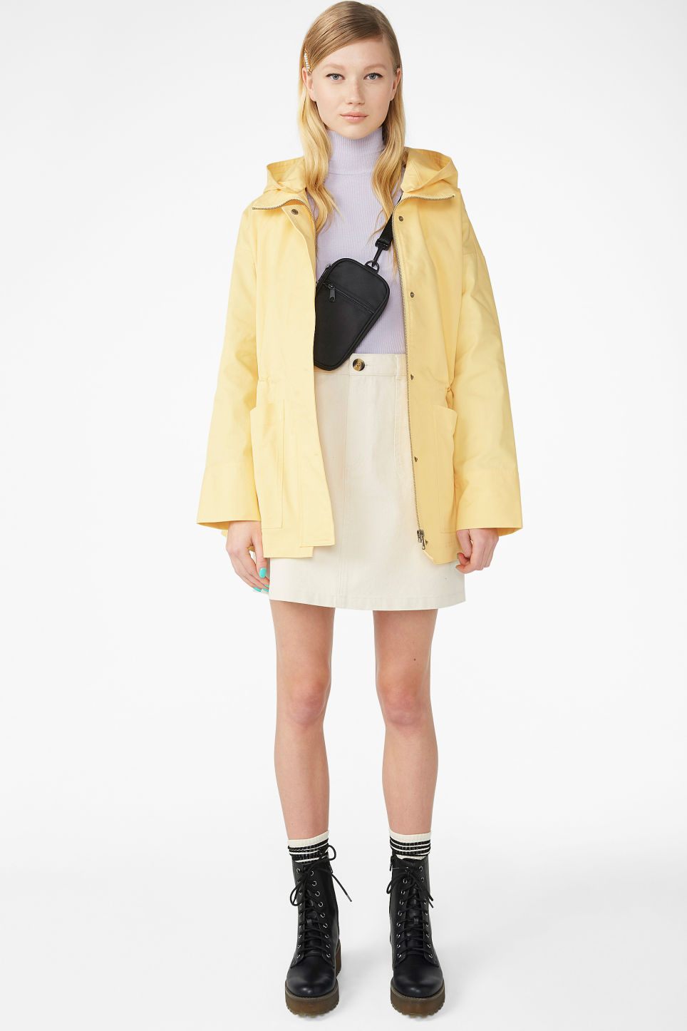 Model front image of Monki hooded jacket  in yellow