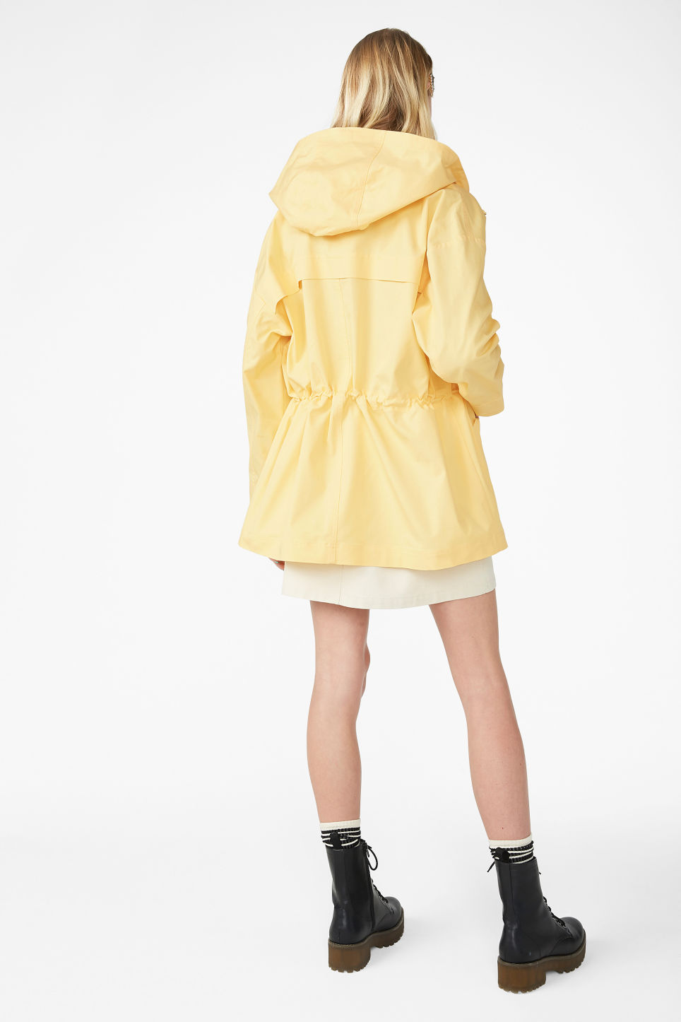Model back image of Monki hooded jacket  in yellow