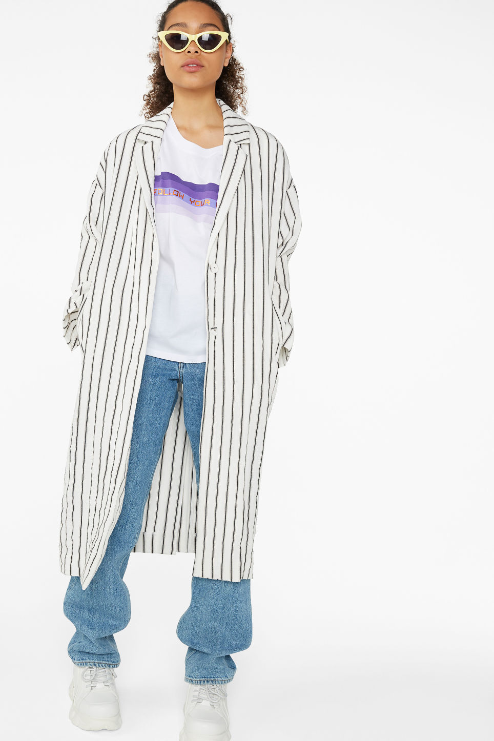 Model front image of Monki long blazer coat in white